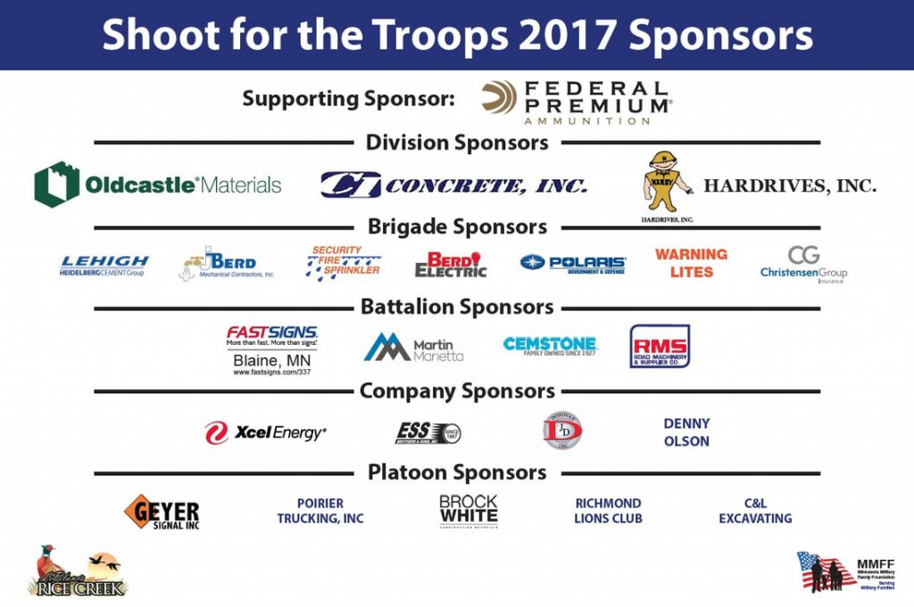 Shoot for the Troops Sponsors 2017